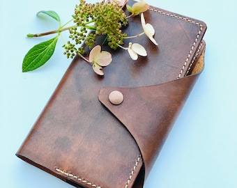 The Patricia journal, beautiful veg tan leather lined notebook.