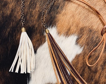 Leather tassel necklace with oxidized chain and soft leather lace.