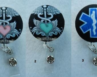Medical Symbols~Nurse~Medics~ Fabric Retractable Badge Holder Reel, ID Name Holder,Security tag holderl