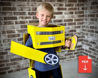 Template for Transforming Car Costume for Kids Inspired by Bumblebee Transformers Costume