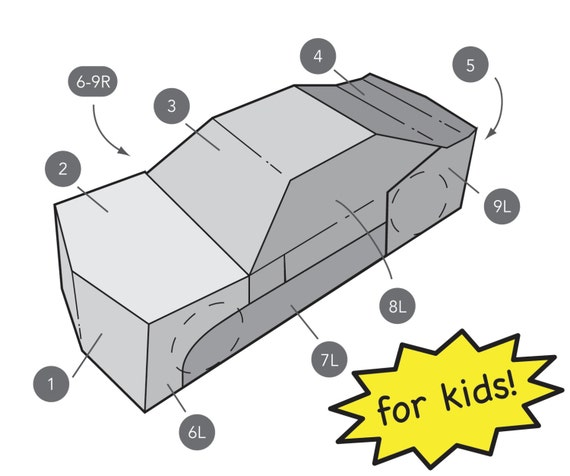 kids transforming car costume template etsy