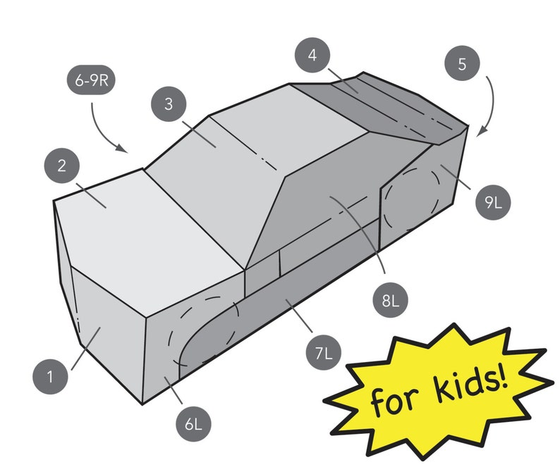 Kids Transforming Car Costume Template image 0