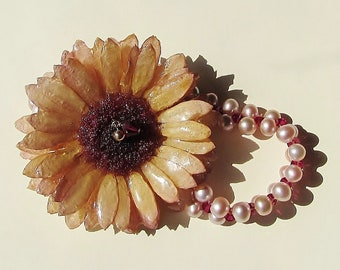 Real Flower Jewelry, Peach Germini & Natural Pearl Anklet/Bracelet, Handmade Botanical Jewellery