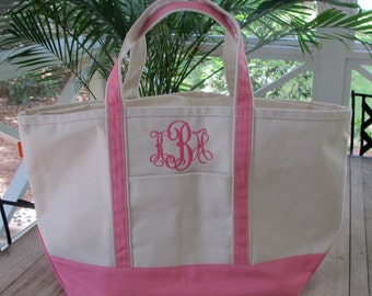 Large Canvas Tote Bag- With Monogram