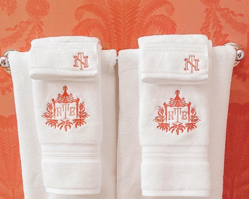 Pagoda Hand Towel with Initials image 0