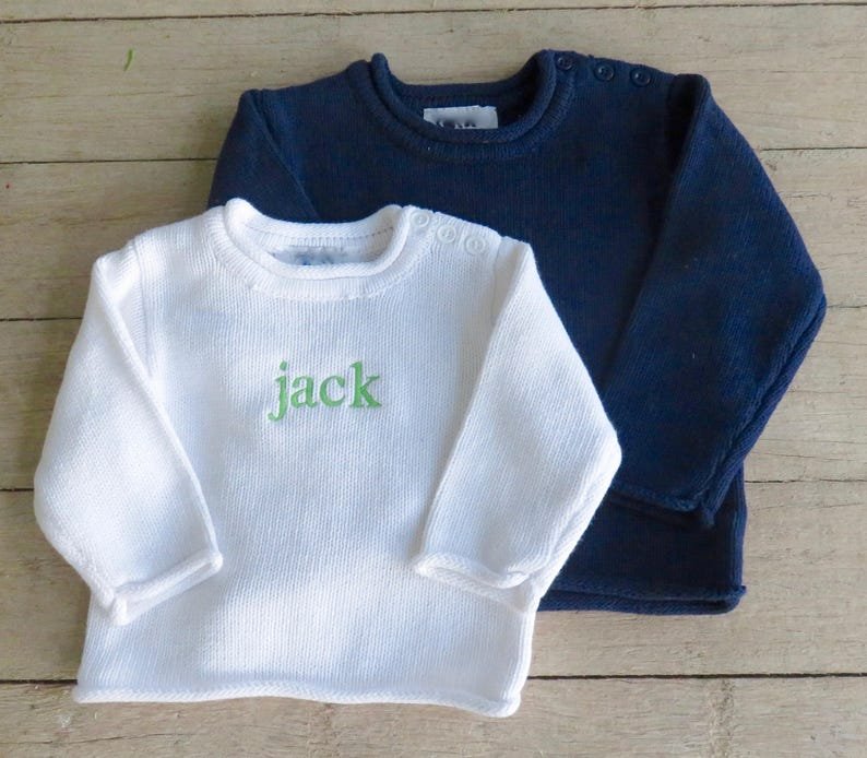 Rollneck Sweater with Button Shoulder and Monogram  Sizes image 0