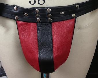 Black and Red leather jockstrap