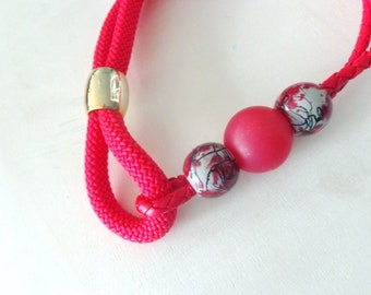 red burgundi necklace, red gold statement necklace, rope necklace