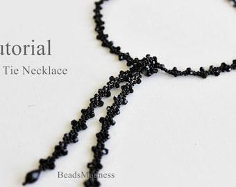 PDF tutorial Necklace Black Tie seed beads