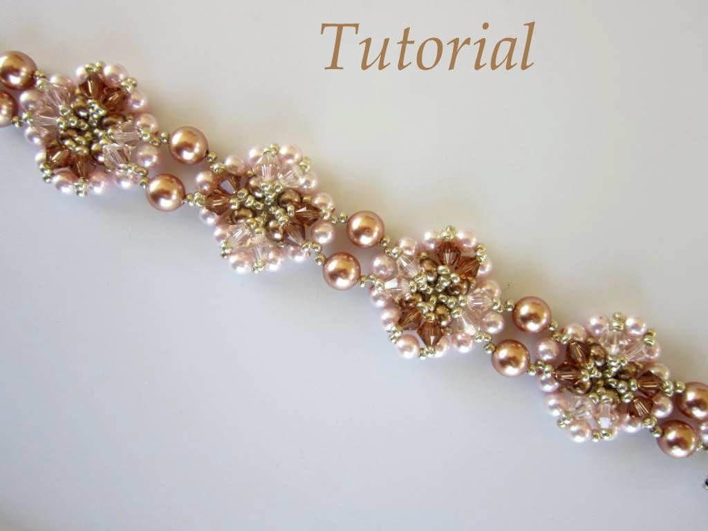 Pdf Beaded Bracelet Tutorial Seed Bead Swarovski Crystal
