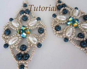 PDF Tutorial Beaded Earrings Northern Light_Pattern _Swarovski pearl_seed beads_Easy pattern