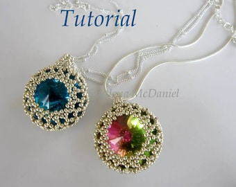 PDF tutorial Beaded Lace Rhinestone Pendant