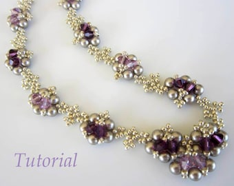 PDF beaded necklace tutorial - seed bead- crystal- pearl- Swarovski- amethyst