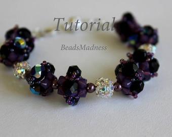 PDF tutiroal_beaded bracelet_Glowing sunset_seed beads_pearl_Swarovski crystals_Czech beads