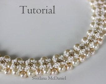 PDF tutorial beaded pearls necklace Follow Me_ beading_seed beads_pearls_Swarovski