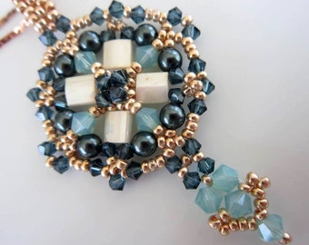 PDF beaded pendant tutorial - seed beads-crystal_Swarovski