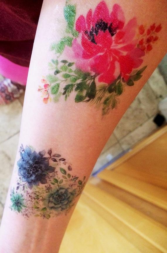 Trois Modeles De Tatouage Temporaire Vert Cactus Succulentes Etsy
