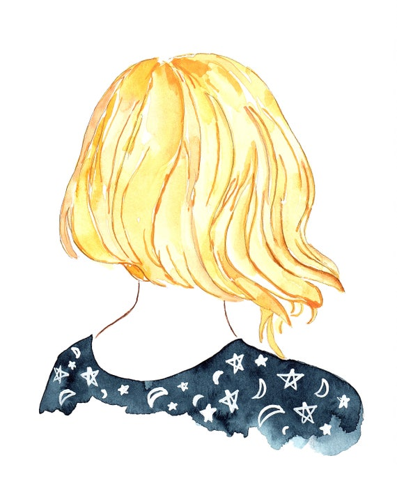 Inventory Saleblue Starry Night Sky Blonde Hair Short Etsy