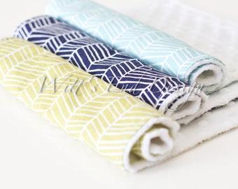 Modern Gender Neutral Modern Minky Burp Cloths, Set of 3- Blue, Green and Navy Herringbone print