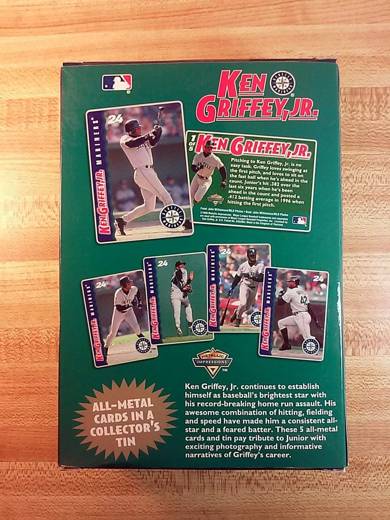 a8fc7c45ed Vintage Ken Griffey Jr All Metal Collector Cards by Metallic | Etsy