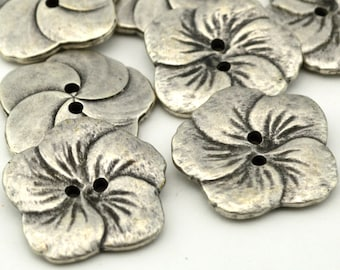 """HIBISCUS Buttons Antique Silver, Gorgeous Hawaiian Flower Button 1"""" Qty 4 to 12, 25mm Leather Wrap Clasp, Clothing Button"""