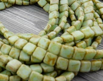 Czech Tile Beads, PALE TURQUOISE PICASSO Opaque CzechMates, 2 hole, 6 mm, Czech Glass Tiles, Qty 25