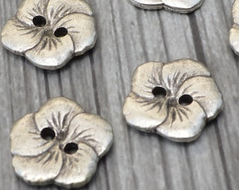 """HIBISCUS Metal Buttons Antique Silver, Hawaiian Flower 5/8"""" Qty 4 to 12, 15mm Sweater or Jewelry Clasp Button"""