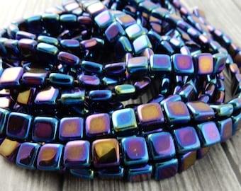 Czech TILE Beads, Czech Glass Beads, IRIS BLUE 2 hole, 6 mm, Czech Glass Two Hole Square Tiles, Qty 25, Gorgeous Leather Wrap Beads