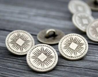 e5bcb50e9719c MAYAN Buttons, Antique Silver, Shank Back, 5/8