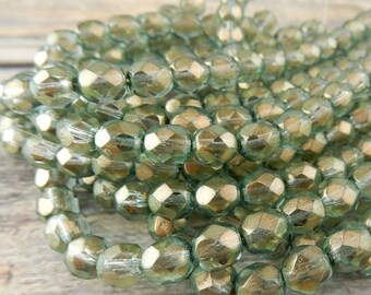 Halo Heavens Green 50pcs 4mm Czech Fire Polished Glass Beads Round Faceted Bead Golden Green