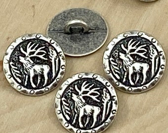Deer Silver Metal Button 25mm Highest Quality Made in Italy