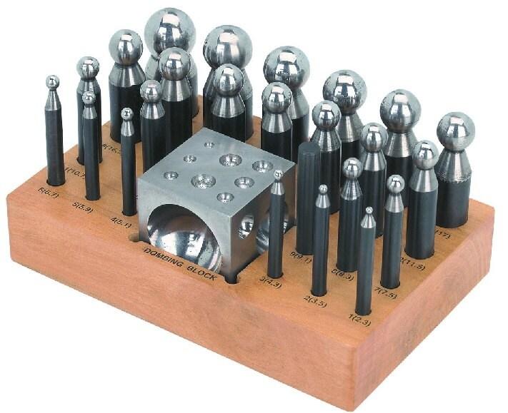 Deluxe en acier Dapping bloc Doming Punch Set avec avec avec 24 coups de poing, métal durci acier Metal Working Tools e57409