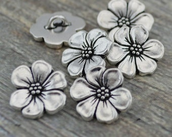Apple Blossom Metal Buttons, Tierracast Antique Silver, 16mm Button, Qty 4 to 20, Jewelry Findings, Bracelet Clasps, Flower Buttons,