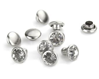 Crystal Rivets CLEAR 6mm Snap Caps, Rhinestones, Czech Glass Rivets Qty 5, Birthstone April