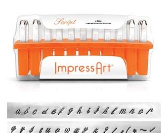 ImpressArt Metal Stamps Set, SCRIPT Metal Stamping Kit, 4mm Alphabet Lowercase Metal Stamp, Hand Stamping Tool, Lettering Monogram Kit