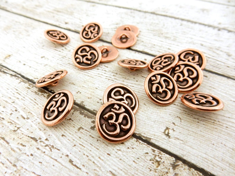 Antique Copper Round Metal Button TierraCast Buttons OM Button Jewelry Making Findings Meditation Buttons Leather Wrap or Focal Clasp