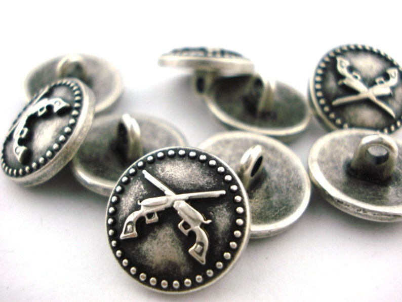 Crossed Guns Metal Button in Antique Silver w Shank 58 15mm Qty 4 Pistols Leather Wrap Clasp