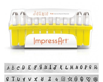Jeanie Alphabet Uppercase Metal Stamp Kit, 4mm, ImpressArt, Upper Case Stamp Set, Perfect for Metal Stamping Your Own DIY Jewelry