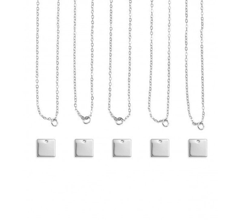 SQUARE Necklace Kits ImpressArt Personal Impressions Qty 5 DIY Necklace Sets 11mm Stamping Blanks Chain Silver Plated Jewelry Kit