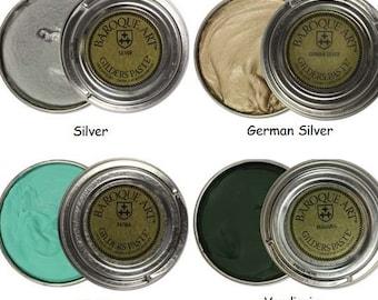 Gilders Paste, Choose Silver, German Silver, Patina, or Verdigris Baroque Art Gilders Paste Wax Polish Patina, For Metal Wood Resin Ceramics