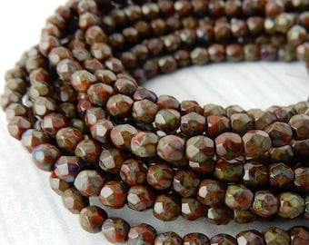 PICASSO UMBER Brown Faceted Round Czech Glass Beads 3mm Qty 50 Firepolished Tiny Brown Beads