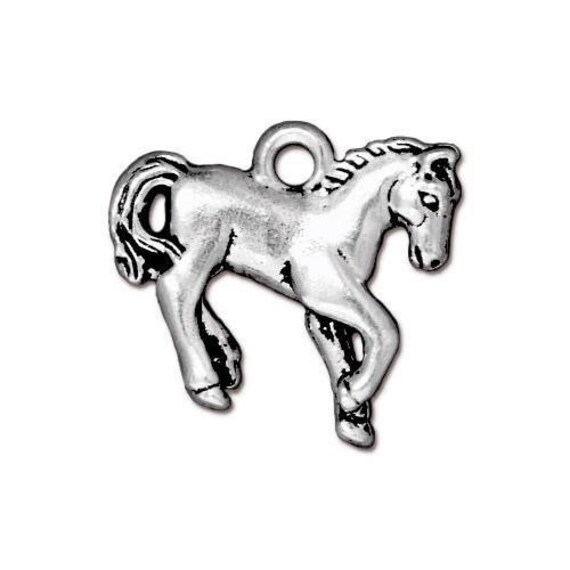 Silver Alloy Stallion Mustang Horse Western Pendant 3mm Black Leather Necklace