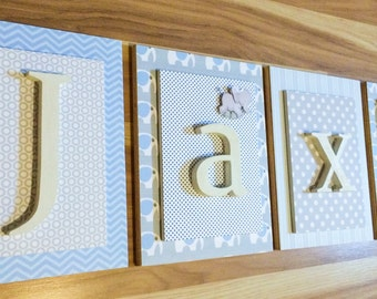 Nursery Letters, Boys Nursery Letters, Hanging Wall Letters, Personalized Letters, Wood Letters For Nursery, Elephant Nursery,  Baby Letters