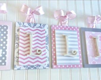 nursery letters pink and gray nursery personalized letters chevron letters wooden letters nursery wall letters hanging wall letters