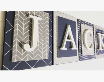 Baby Boy Navy and Gray Nursery Letters | Boys Letters for Nursery | Wooden Nursery Letters for Boy | Boys Wooden Name