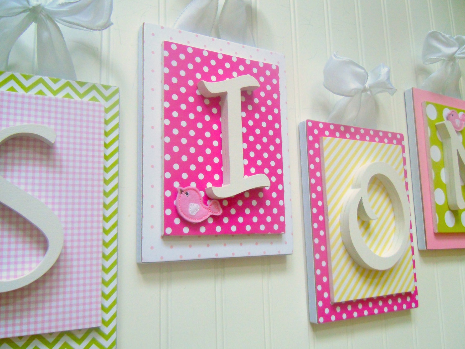 nursery letters pink nursery letters pink and green nursery etsy. Black Bedroom Furniture Sets. Home Design Ideas