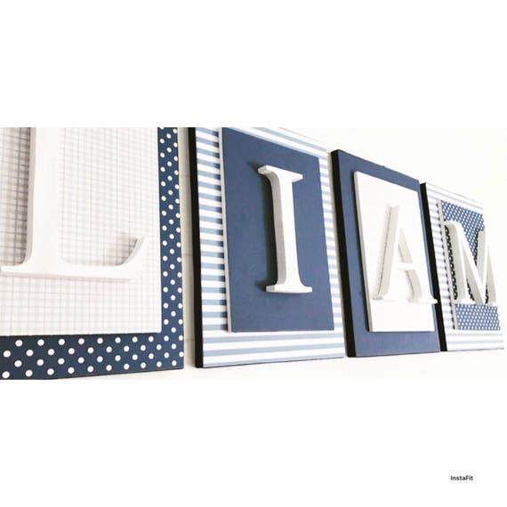 Chambre d\'enfant lettres garçon, gris et bleu pépinière lettres ...