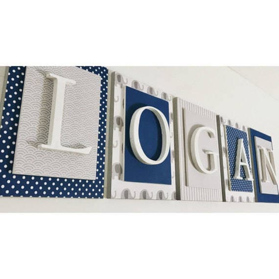 Nursery Name Sign Boys Name Decal Boys Name Letters Wall