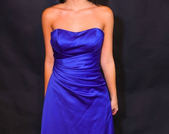 Electric Blue Satin Evening Gown