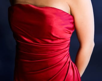 Red Satin Evening Gown